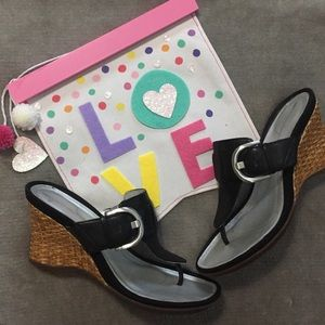 Rockport sandal wedges black size 8